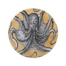 "Victorian Octopus on Parchment 3.5"" Button"