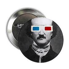 "Edgar Allan Poe 3D Glasses Altered Art 2.25"" Butto"