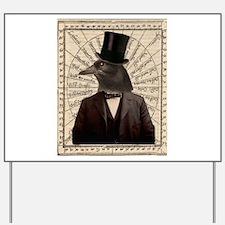 Victorian Steampunk Crow Man Altered Art Yard Sign