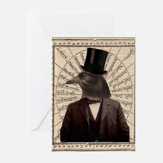 Victorian Steampunk Crow Man Altered Art Greeting