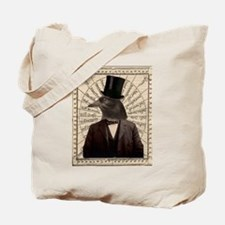 Victorian Steampunk Crow Man Altered Art Tote Bag