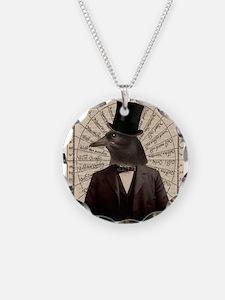 Victorian Steampunk Crow Man Altered Art Necklace