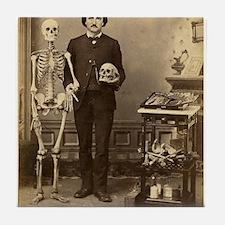 Edgar Allan Poe Victorian with Skeleton Skull Tile