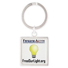 Freedom Action Bulb Front Square Keychain