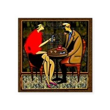 "Light lunch couple red swea Square Sticker 3"" x 3"""