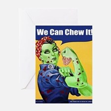 Zombie Rosie the Riveter We Can Chew It Greeting C