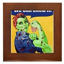 Zombie Rosie the Riveter We Can Chew It Framed Til