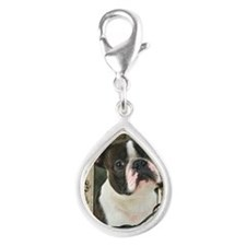 Stone_Paws_Boston_Terrier Silver Teardrop Charm