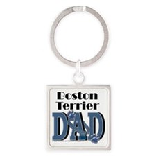 BostonTerrierDad Square Keychain