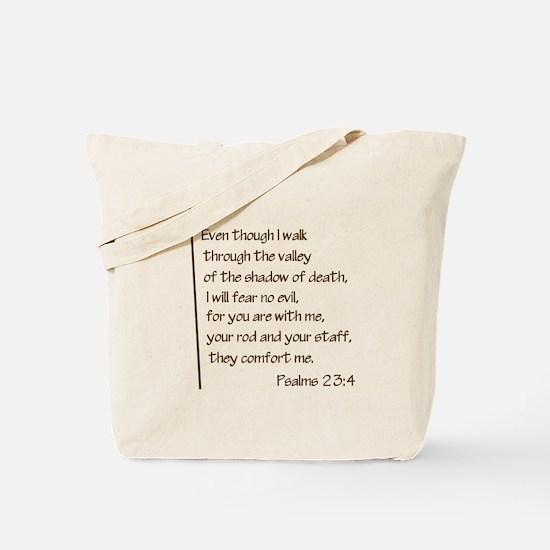 Psalms23-4 Brown No Shadow Tote Bag
