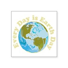 "Earth_Day_dark Square Sticker 3"" x 3"""