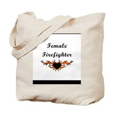 Female Firefighter Tattoo Tote Bag