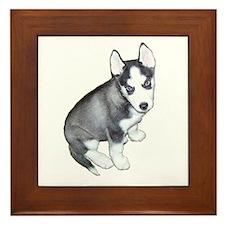 Siberian Husky Puppy Design Framed Tile