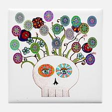 skull slowers Tile Coaster