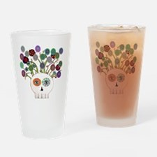 skull slowers Drinking Glass