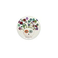 skull slowers Mini Button
