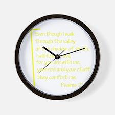 Psalms23-4 Yellow No Shadow Wall Clock
