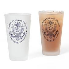 Emb Kin Logo BlueW rtg Drinking Glass