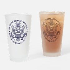 Emb Kin Logo BlueW rtg Drinking Glass