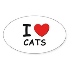 I love cats Oval Decal