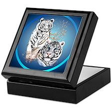 White Tigers -circle Keepsake Box