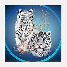 White Tigers -circle Tile Coaster