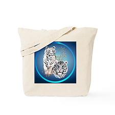 White Tigers -circle Tote Bag