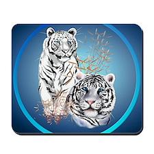 White Tigers -circle Mousepad