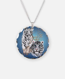 White Tigers -circle Necklace