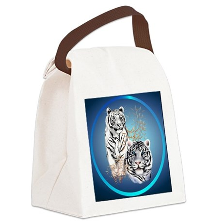 White Tigers -circle Canvas Lunch Bag