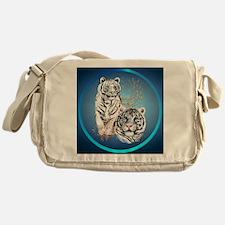 White Tigers -circle Messenger Bag