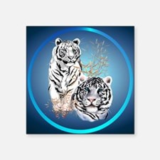 "White Tigers -circle Square Sticker 3"" x 3"""