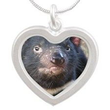 TasmanianDevil2 Silver Heart Necklace