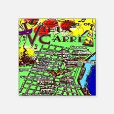 "French Quarter MAp Old 3SQ Square Sticker 3"" x 3"""