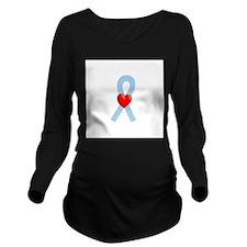 Light Blue Heart Ribbon Long Sleeve Maternity T-Sh