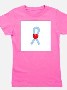 Light Blue Heart Ribbon Girl's Tee