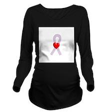 Orchid Heart Ribbon Long Sleeve Maternity T-Shirt