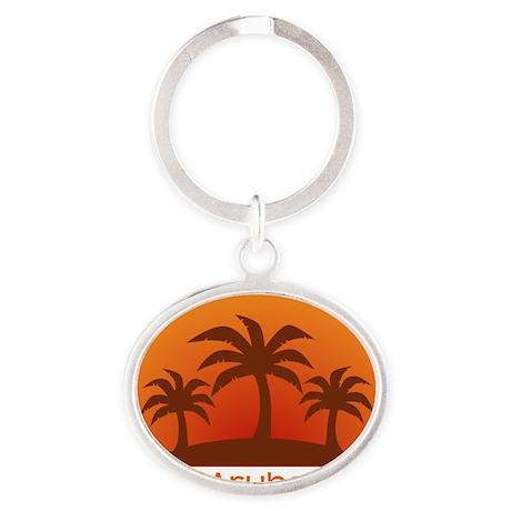 threePalmsLight_Aruba_10x10 Oval Keychain