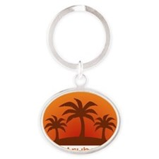 threePalmsLight_Aruba_10x10 Oval Keychain