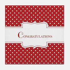 Red Polka Dot Congratulations Tile Coaster