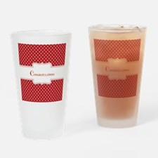 Red Polka Dot Congratulations Drinking Glass