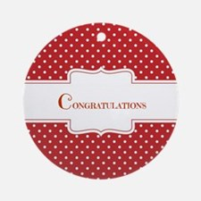 Red Polka Dot Congratulations Ornament (Round)