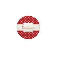 Red Polka Dot Congratulations Mini Button (10 Pack