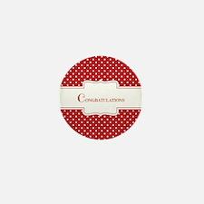 Red Polka Dot Congratulations Mini Button