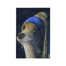 journal dog with a pearl earring Rectangle Magnet