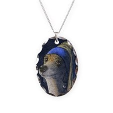journal dog with a pearl earri Necklace