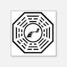 """Dharma movie reel black Square Sticker 3"""" x 3"""""""