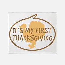 Babys First Thanksgiving Throw Blanket