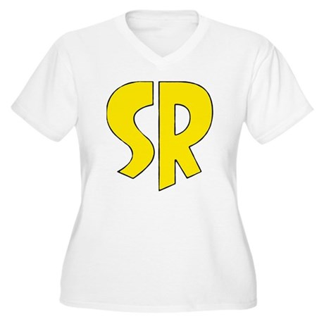 Super_rock Women's Plus Size V-Neck T-Shirt