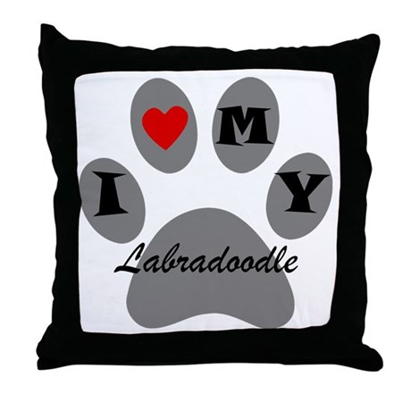 I Heart My Labradoodle Throw Pillow